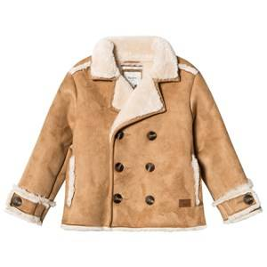 Pepe Jeans Boys Coats and jackets Beige Camel Shearling Double Breasted Coat