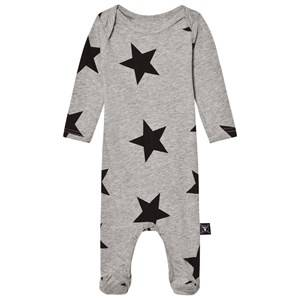 NUNUNU Unisex All in ones Grey Star Footed Baby Body Heather Grey