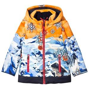 Sportalm Unisex Coats and jackets Gold Orange and Blue Multi Hooded Jacket