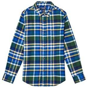 Lands End Boys Tops Blue Blue Multi Plaid Flannel Shirt