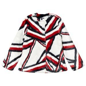 Tommy Hilfiger Girls Coats and jackets White Global Stripe Faux Fur Jacket