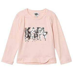 Karl Lagerfeld Kids Girls Tops Pink Pink Sequin Karl Party Tee