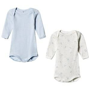 Petit Bateau Unisex All in ones White 2 Pack Baby Body White and Blue