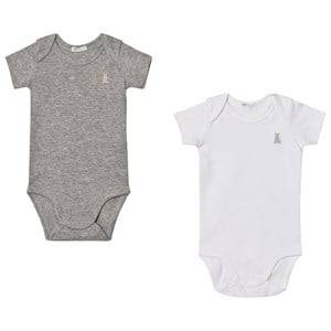 United Colors of Benetton Boys All in ones Grey 2 Pack S/S Vest Bodys With Bunny Logo Detail White&Grey