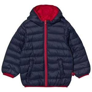 United Colors of Benetton Boys Coats and jackets Blue Hooded Puffer Coat with Contrast Color Lining Navy