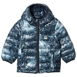United Colors of Benetton Boys Coats and jackets Blue Galaxy Print Hooded Puffer Coat Navy
