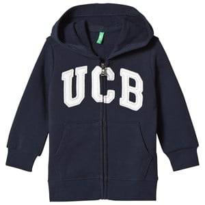United Colors of Benetton Boys Jumpers and knitwear Blue Jersey Logo Zip Hoodie Navy