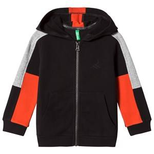 United Colors of Benetton Boys Jumpers and knitwear Black Color Block Zip Hoodie Black