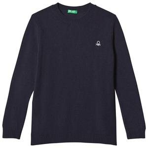 United Colors of Benetton Boys Jumpers and knitwear Blue Crew Neck Knit Jumper With Logo Navy