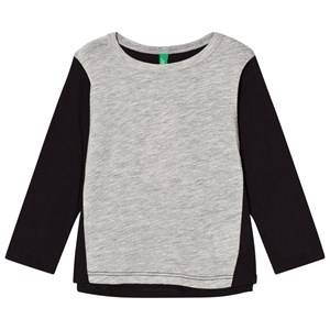 United Colors of Benetton Girls Tops Black Color Block T-Shirt with Tulle Backpack Detail Black
