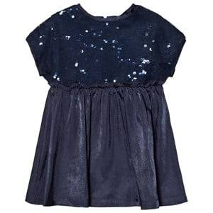 United Colors of Benetton Girls Dresses Blue S/S Sequins Top A Line Dress Navy