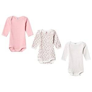 Petit Bateau Unisex All in ones White Pink/White Baby Bodies (3 Pack)