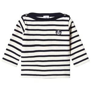 Petit Bateau Unisex Jumpers and knitwear White Knitted Sweater Creme/Marine