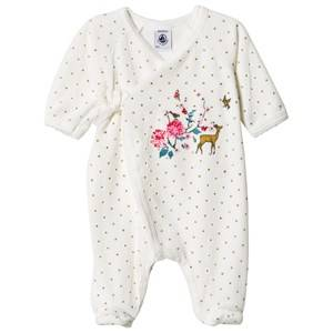Petit Bateau Unisex All in ones White Velour Wrap Baby Body Creme