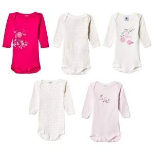 Petit Bateau Unisex All in ones White Pink/White Baby Bodies (5 Pack)