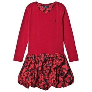 Jessie & James Girls Dresses Red Red Floral Scallop Jersey Scallop Dress