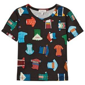 Paul Smith Junior Boys Tops Black Black Cycling Jersey All Over Print Tee