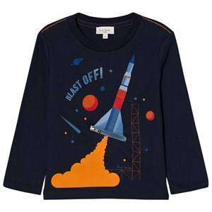 Paul Smith Junior Boys Tops Navy Navy Rocket Print with Zip Flames Long Sleeve Tee