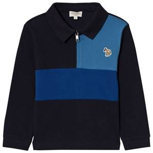 Paul Smith Junior Boys Tops Navy Navy and Blue Zip Front Colour Block Polo