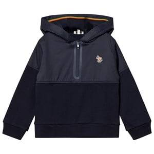 Paul Smith Junior Boys Jumpers and knitwear Navy Navy Half Zip Front Hoody with Multi Stripe Hood Detail