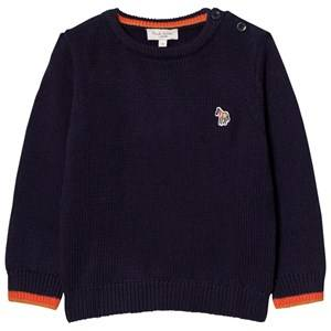 Paul Smith Junior Boys Jumpers and knitwear Navy Navy Knit Logo Jumper with Contrast Cuffs