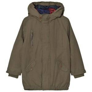 Paul Smith Junior Boys Coats and jackets Green Khaki Water-Repellent Hooded Parka with Quilted Lining