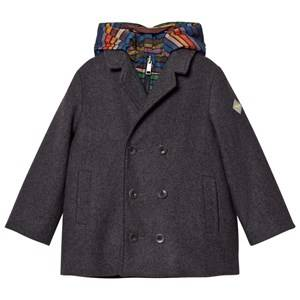 Paul Smith Junior Boys Coats and jackets Navy Grey Wool and Stripe Puffer Gilet 2 in 1 Coat