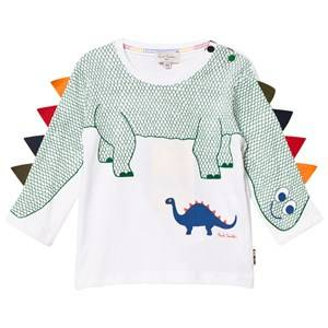Paul Smith Junior Boys Tops White White Dinosaur with Spines on Sleeve Tee