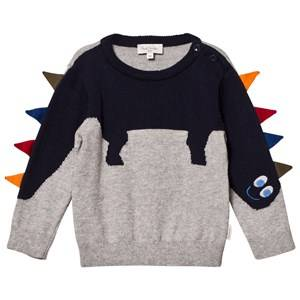 Paul Smith Junior Boys Jumpers and knitwear Grey Grey Dinosaur Knit Jumper with Spine Applique