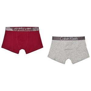 Calvin Klein Boys Underwear Grey 2 Pack of Red and Grey Branded Trunks