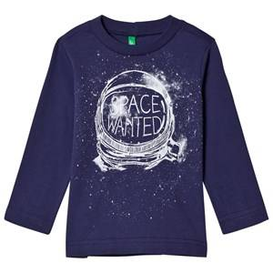 United Colors of Benetton Boys Tops Blue Space Helmet Print L/S T-Shirt Navy