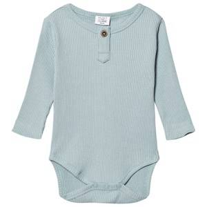 Hust&Claire; Boys All in ones Blue Ribbed Baby Body Petrol