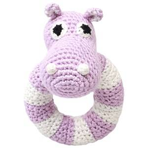 natureZOO Unisex First toys and baby toys Purple Round Rattle Lady Hippo