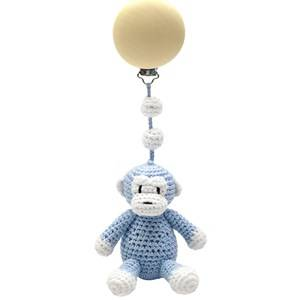 natureZOO Unisex First toys and baby toys Blue Sir Monkey Single Stroller Mobile Light Blue