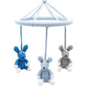 natureZOO Unisex First toys and baby toys Blue Three Rabbits Circle Mobile Blue