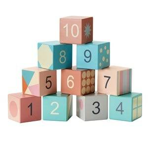 Kids Concept Unisex First toys and baby toys Blue Edvin - Wooden Stacking Blocks 123