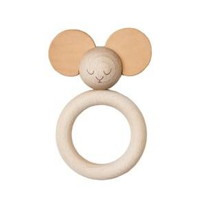 garbo&friends; Unisex First toys and baby toys Brown Mister Mouse Wood & Leather Teether