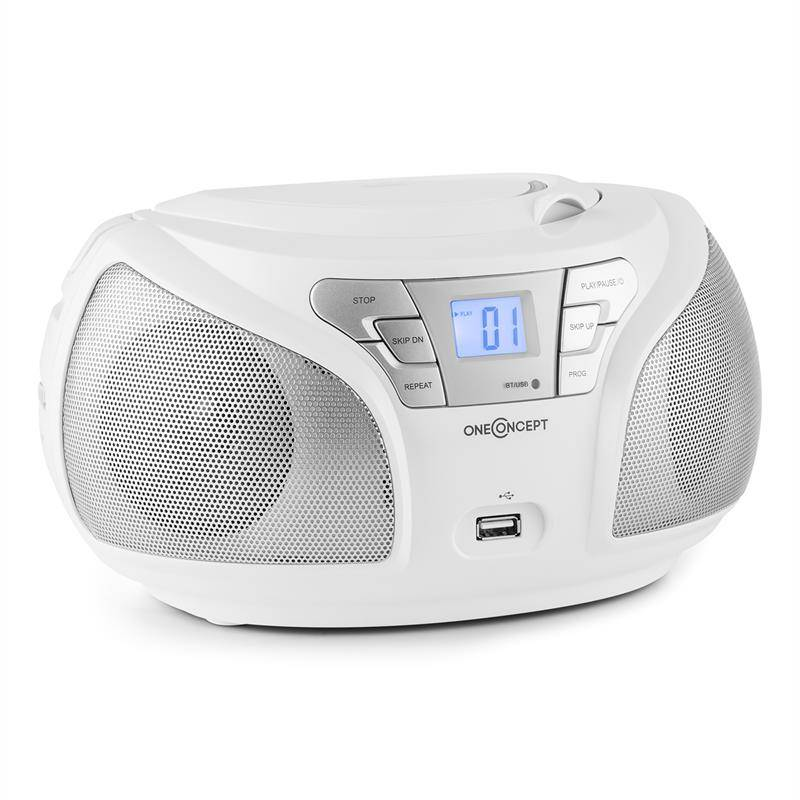 oneConcept Groovie RD boombox bluetooth CD UKW AUX MP3 valkoinen