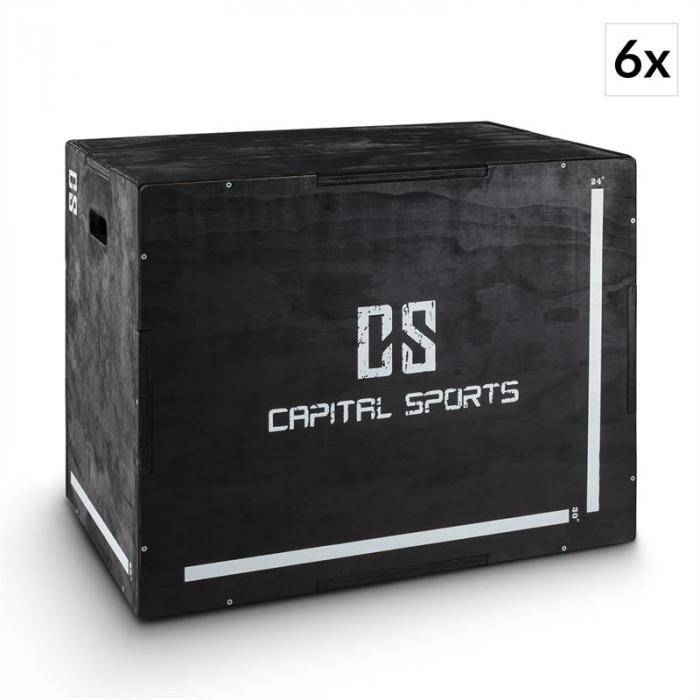 "Capital Sports Shineater BK plyobox 3 korkeudet 20"" 24"" 30"" puuta musta"