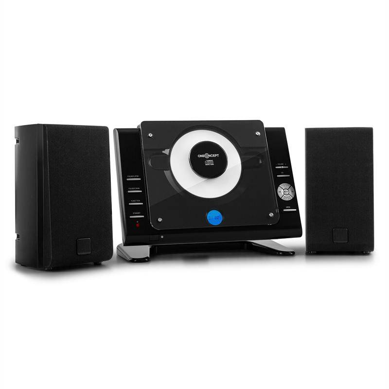 oneConcept Vertical 70 stereolaitteisto CD USB MP3 AUX musta