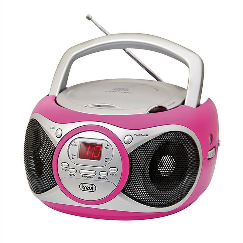 Trevi CD 512 CD-soitin CD/CD-R/RW MP3-CD FM-radio AUX pinkki