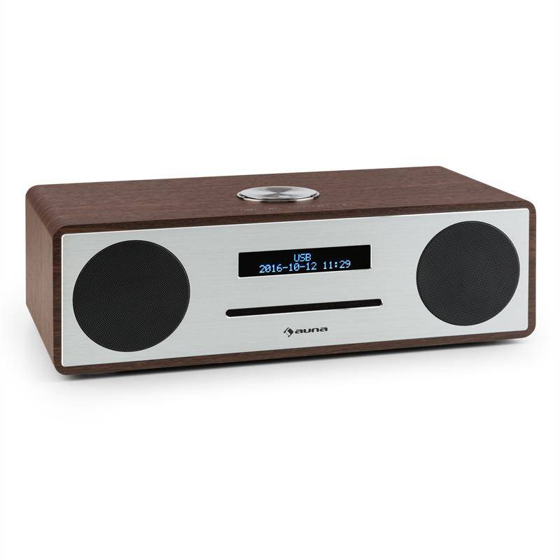 auna Stanford DAB-CD-radio DAB+ bluetooth USB MP3 AUX UKW pähkinä