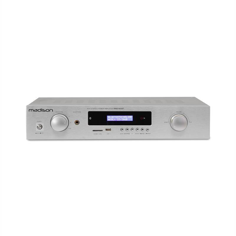 madison MAD-1400 BT HiFi-stereo-vahvistin Bluetooth USB SD MP3 AUX UKW valkoinen