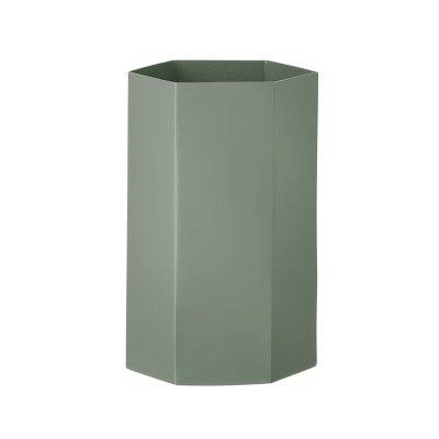 Ferm Living Hexagon maljakko 12x21, dusty green