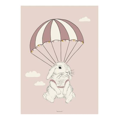 Bloomingville Airbone Bunny poster 50x70, roosa