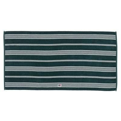 Lexington Striped Velour pyyheliina 70x130, racing green/valkea