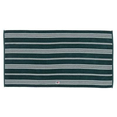 Lexington Striped Velour pyyheliina 100x150, racing green/valkea