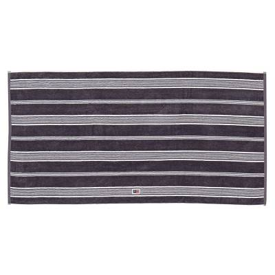 Lexington Striped Velour pyyheliina 70x130, charcoal/valkea