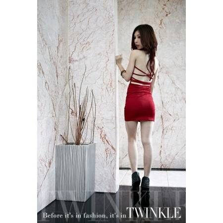 e-ville.com V-Collar Strap-Crossed Tassels Pattern Sexy Slim Figure Women Dress - Punainen