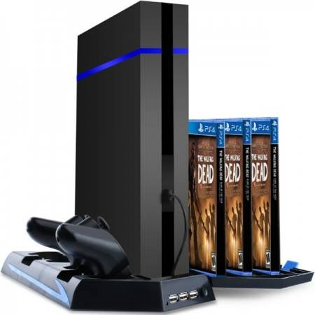 e-ville.com All-in-one -teline PS4-konsolille, ohjaimille & peleille